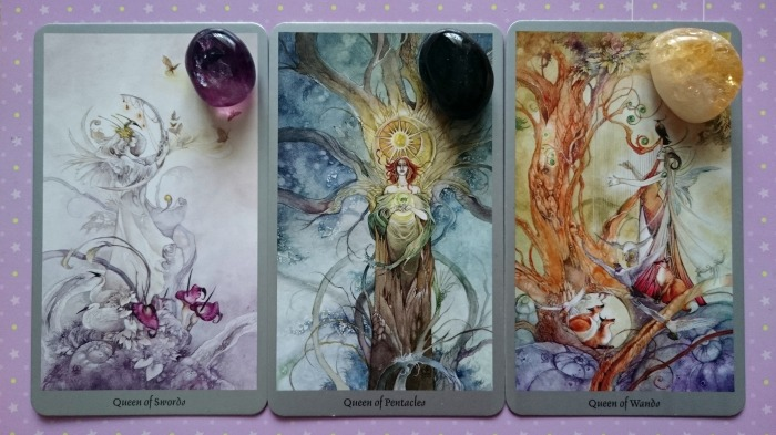 Shadowscapes-Queen-of-Swords-Queen-of-Pentacles-Queen-of-Wands-with-Crystals